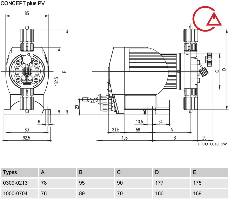 نقشه ابعادی دوزینگ پمپ کانسپت پلاس