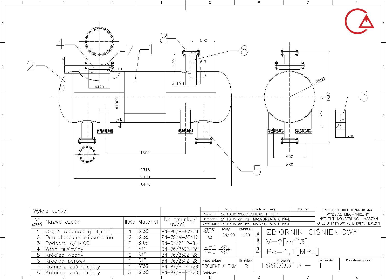نمونه نقشه کارگاهی مخزن تحت فشار استوانه ای افقی
