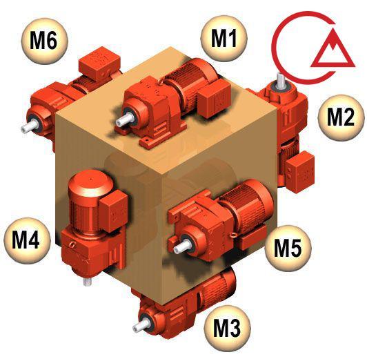 نحوه قرارگیری موتورگیربکس با شماره گذاری m1 m2 m3 m4 m5 m6